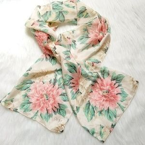Echo Club 7 scarf pink flowers ivory green leaves